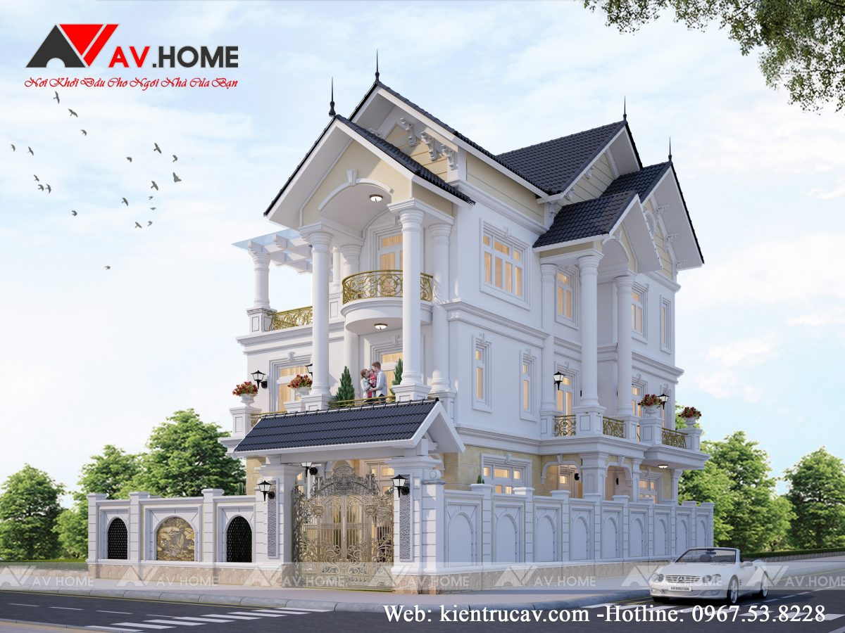 Mẫu biệt thự 3 tầng phong cách tân cổ điển ở Quảng Ninh BT10115
