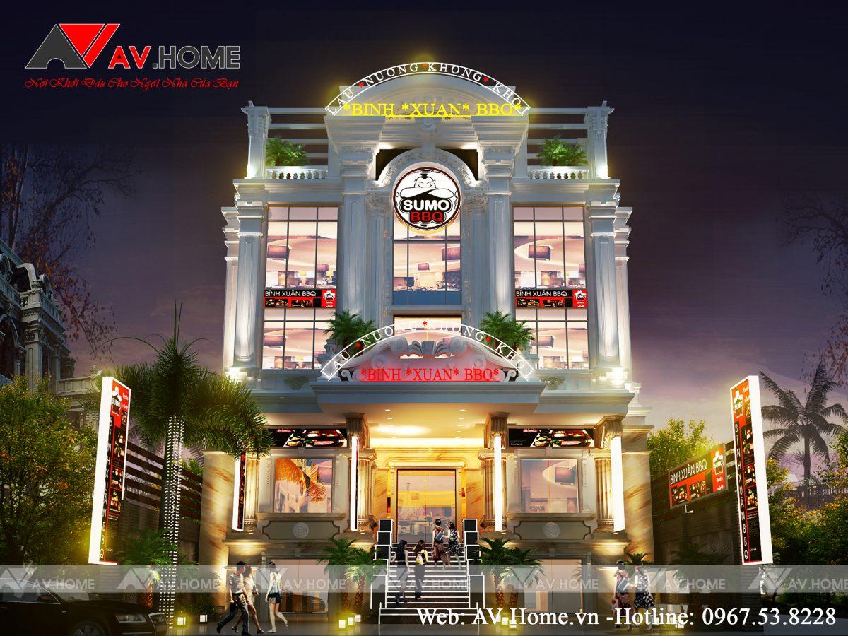 """Thiết kế Nhà hàng """"LẨU NƯỚNG"""" Hạ Long Quảng Ninh – NH1010"""