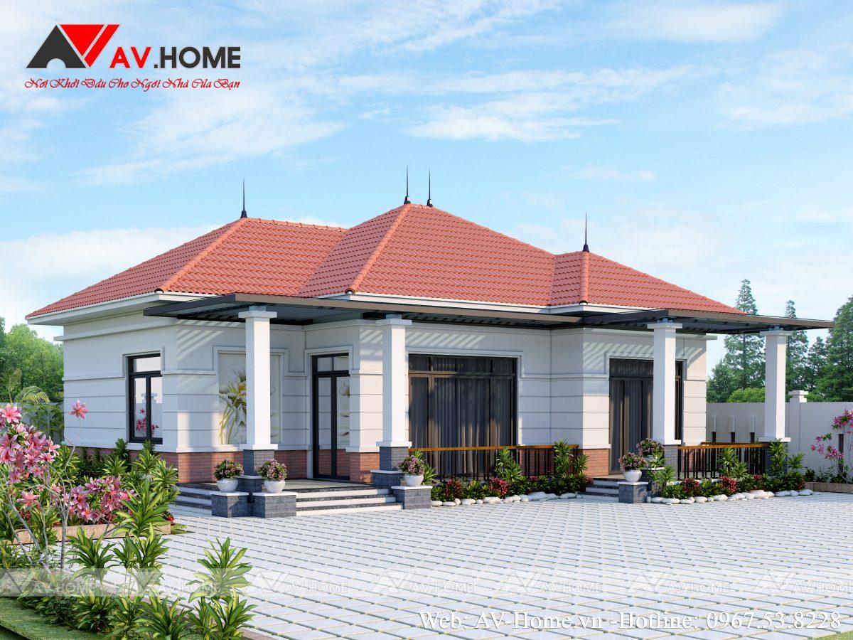 Thiết kế mẫu biệt thự hiện đại 1 tầng tại Văn Giang – BT1030