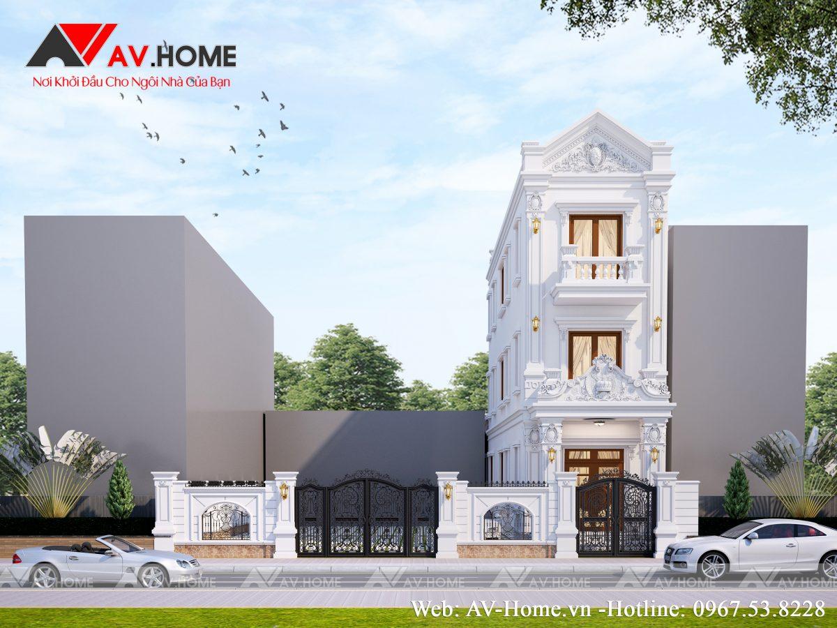 Mẫu nhà phố 3 tầng phong cách tân cổ điển Phúc Thọ Hà Nội – LP1020