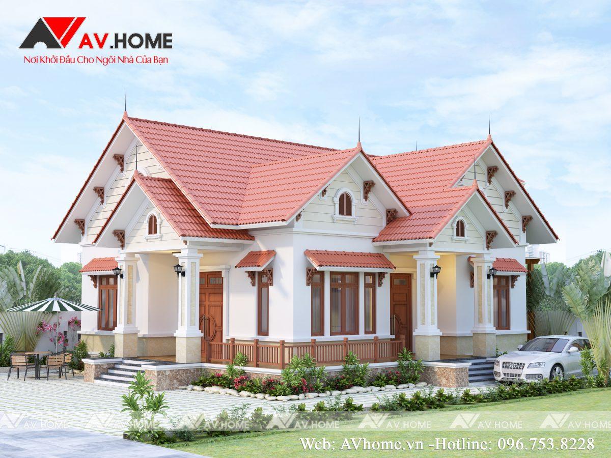 Thiết kế Biệt thự vườn mái thái 1 tầng tại Mộc Châu – BTV1025