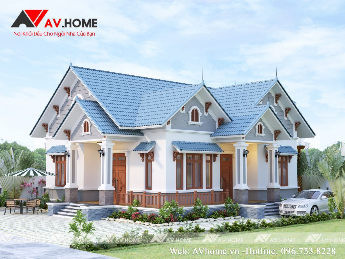 Thiết kế Biệt thự vườn mái thái 1 tầng tại Mộc Châu – BT1055