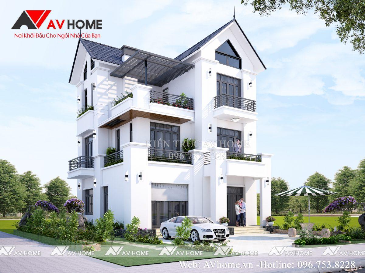 Thiết kế biệt thự 3 tầng 9×9,5m Tại Móng Cái – Quảng Ninh BT1105