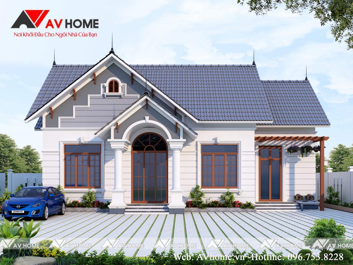 Thiết kế Biệt thự vườn mái thái 1 tầng tại Bắc Giang – BTV1030