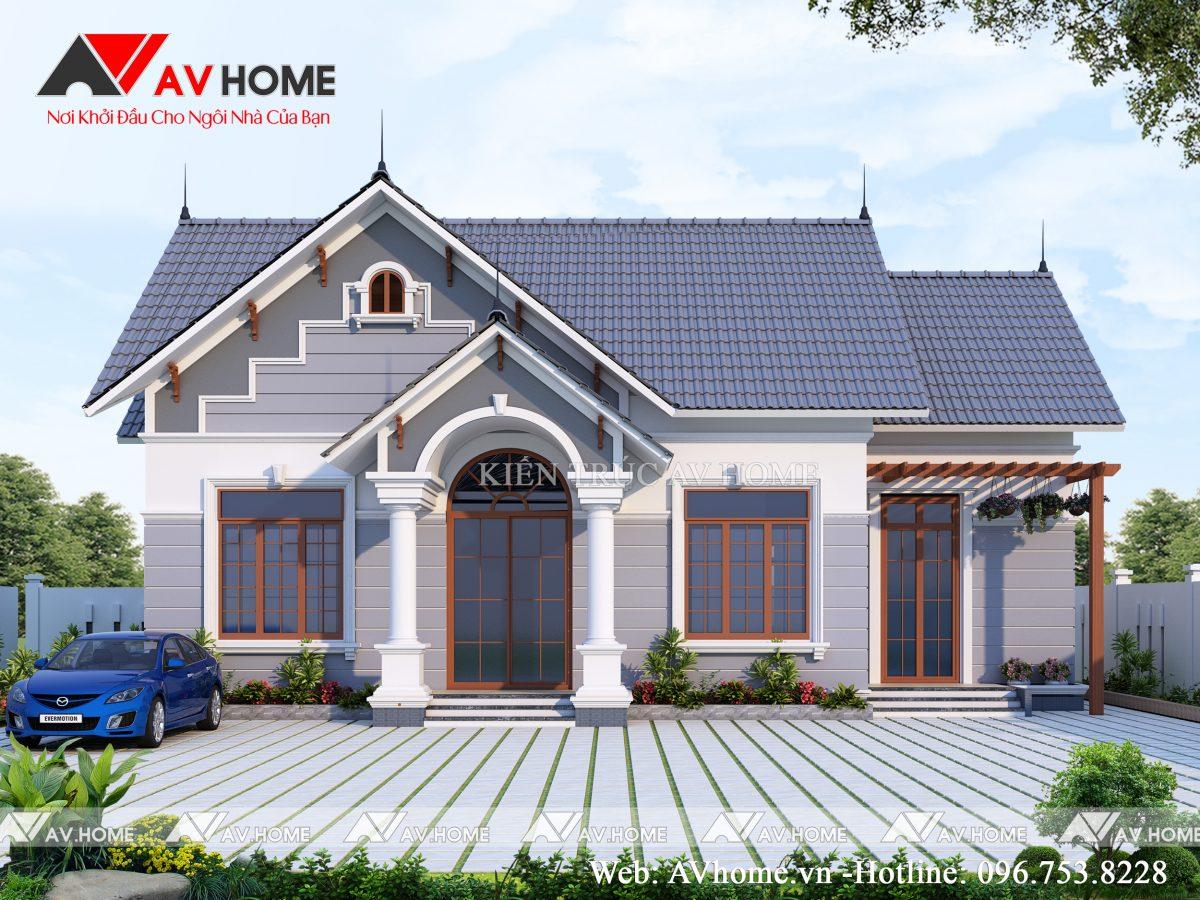 Thiết kế Biệt thự vườn mái thái 1 tầng tại Bắc Giang – BTV1045